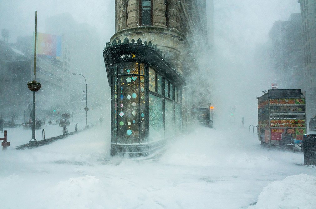 While walking through the Jonas snowstorm that swept across the east coast, I captured this shot of New York's famous Flatiron building against a backdrop of swirling snow