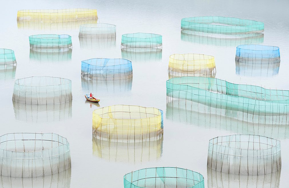 A farm worker rows out to inspect the nets of a large crab farm in the sea at Xiapu, Fujian, China